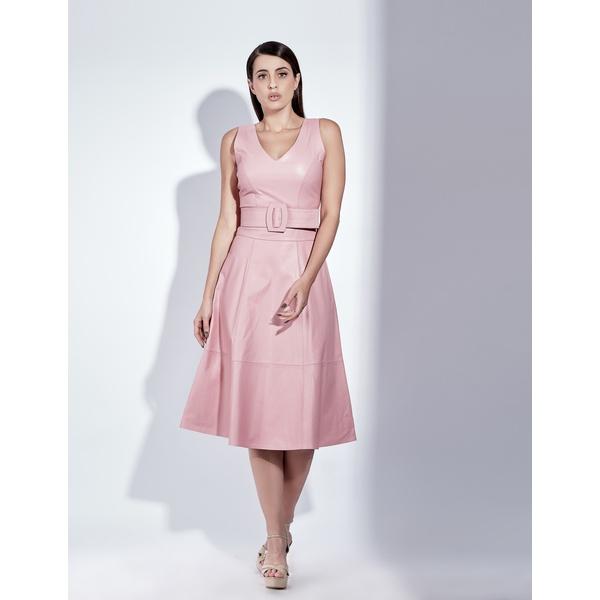 Vestido de Couro Feminino Rosa Valentina