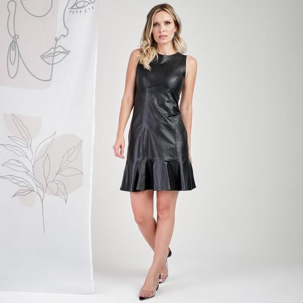 Vestido de Couro Feminino Preto Lívia