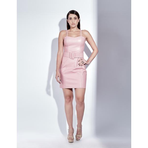 Vestido de Couro Feminino Rosa Késia