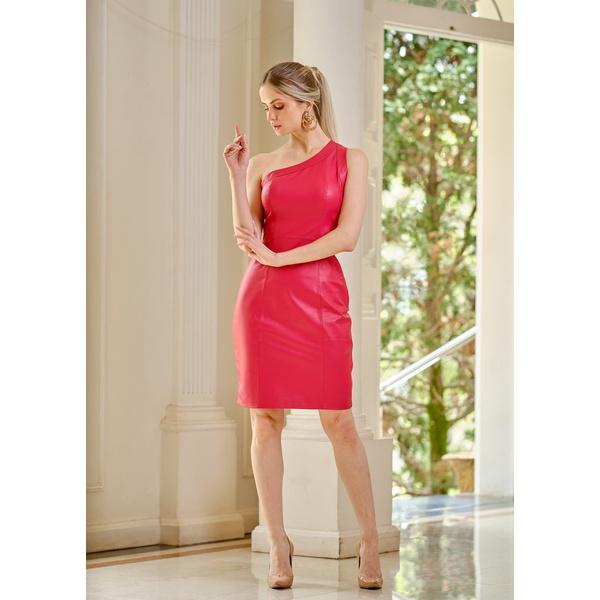 Vestido de Couro Feminino Vermelho Louise