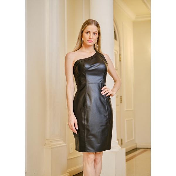 Vestido de Couro Feminino Preto Louise