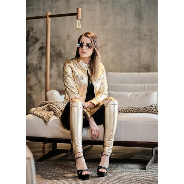 Calça de Couro Feminina Dourada Fernanda