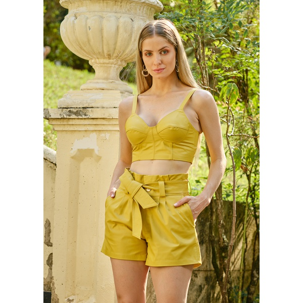 Short de Couro Amarelo Clochard