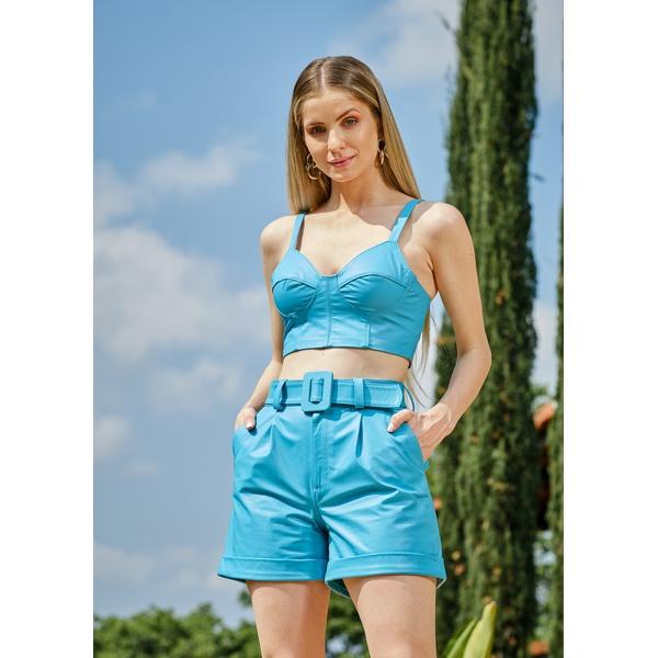 Short de Couro Azul Emma
