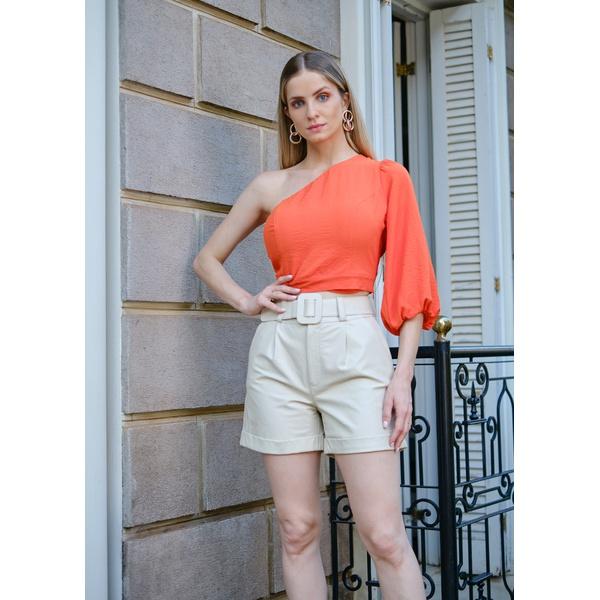 Short de Couro Off-White Emma