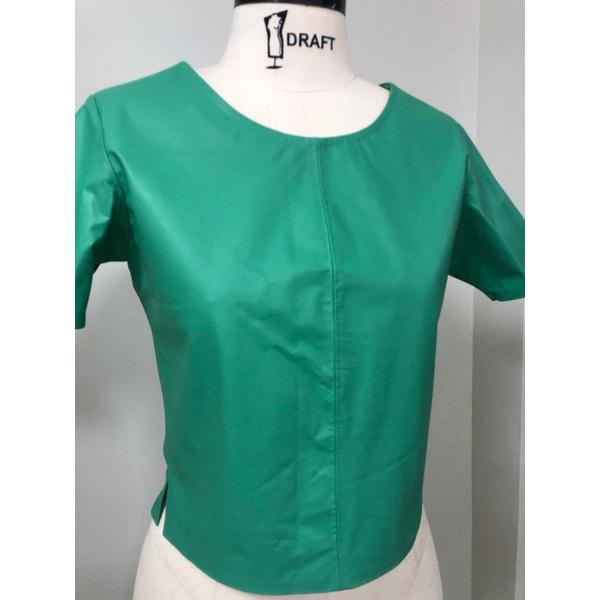 T-shirt de Couro Feminino Verde