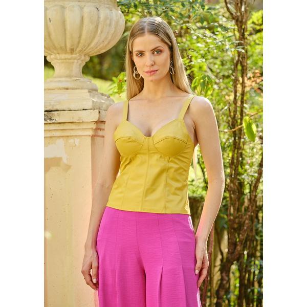Regata de Couro Feminina Scarlatt Amarelo