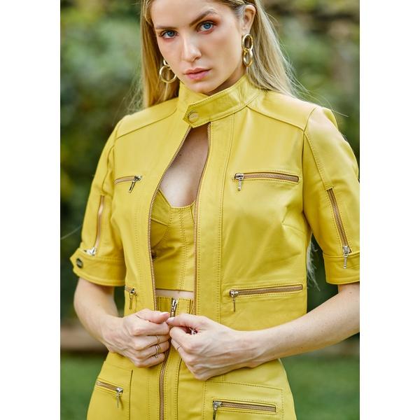 Casaqueto de Couro Feminino Amarelo Ágata