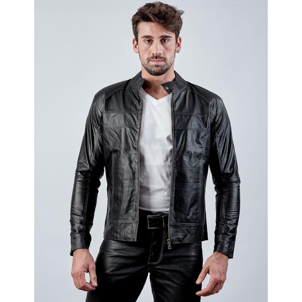 Jaqueta de Couro Masculina Preta Jack