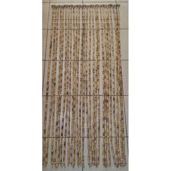Cortina de Bambu Natural C/sisal Palha Trançado E Bola Madeira