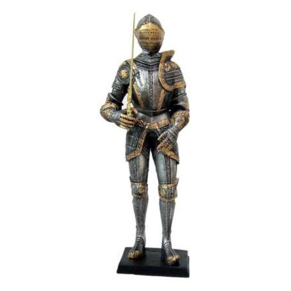 Guerreiro Medieval Prata e Dourado com Espada