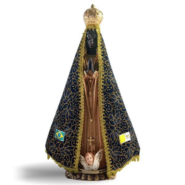 Nossa Senhora de Aparecia de Gesso com Manto Tecido de 40cm