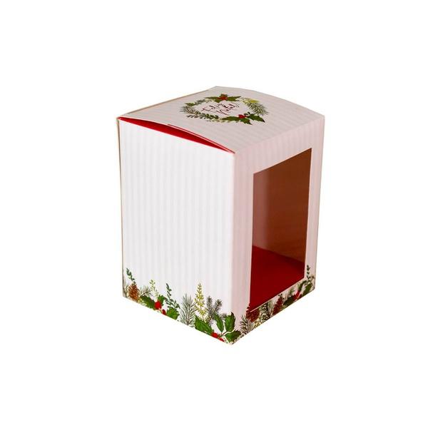 Caixa para bolo de pote Feliz Natal hot Stamping 10 unit 8,5x11x8,5