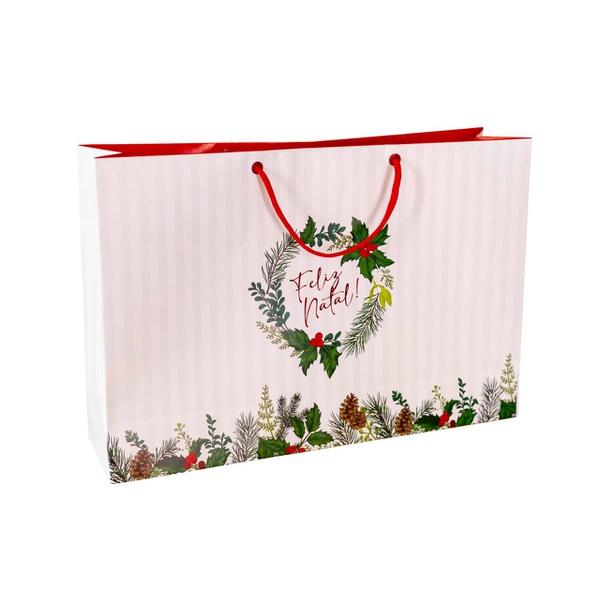 Sacola Feliz Natal 10 unit - 35x24x9cm