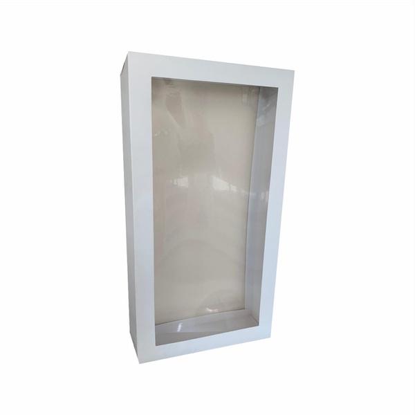 Caixa na cor branco com detalhe na tampa transparente