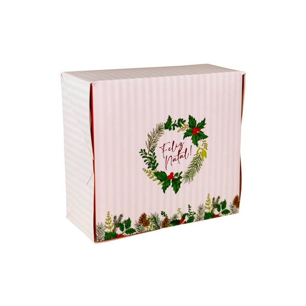 Caixa Feliz Natal hot Stamping 10 unit 14,5x13x6