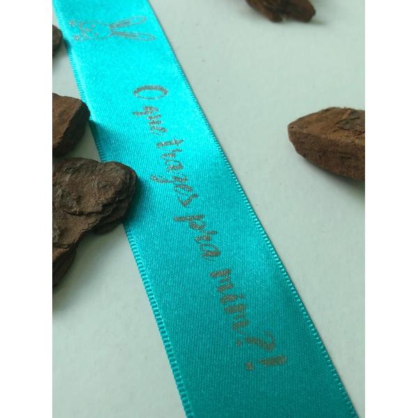 Fita De Cetim Azul Com Hot Stamping Prata