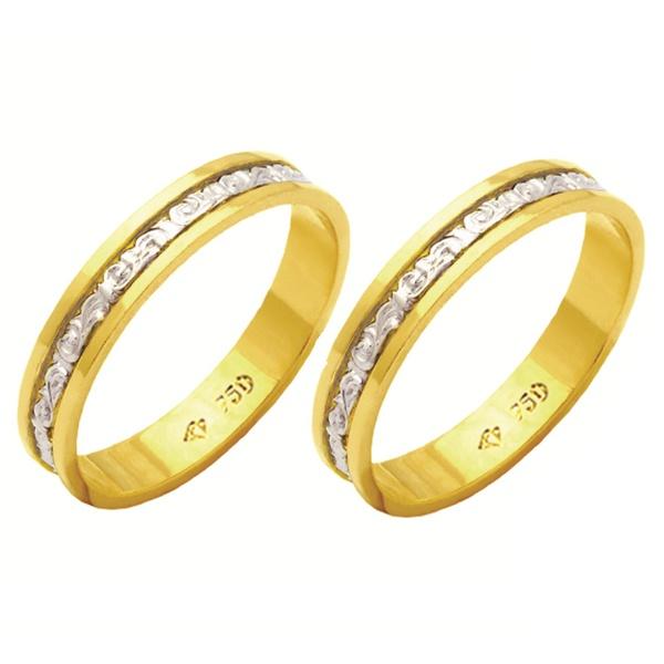 Alianças bodas de prata em ouro amarelo e branco 18k 4 mm