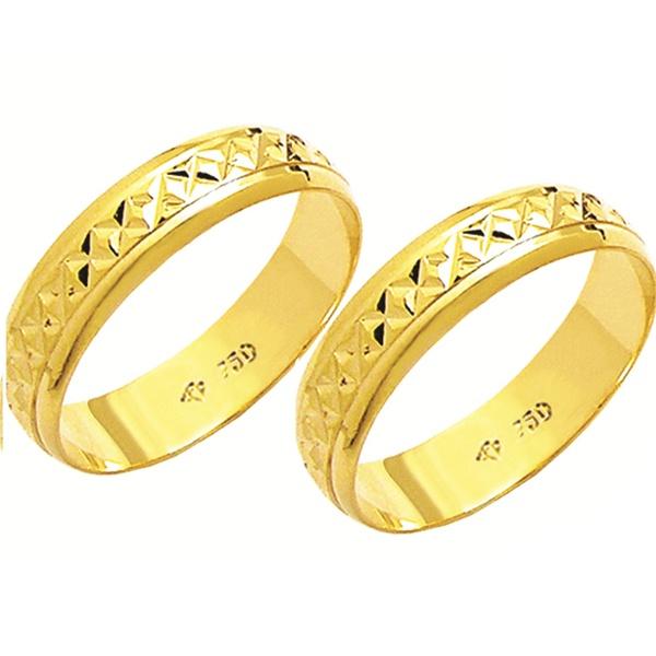 Alianças de casamento e noivado diamantada em ouro 18k 750 5 mm