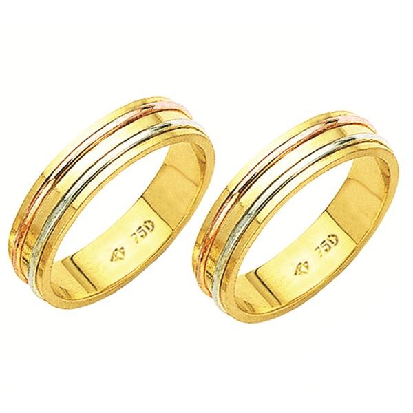 Alianças de casamento e noivado 3 tons em ouro 18k 750 trabalhadas 5.5 mm