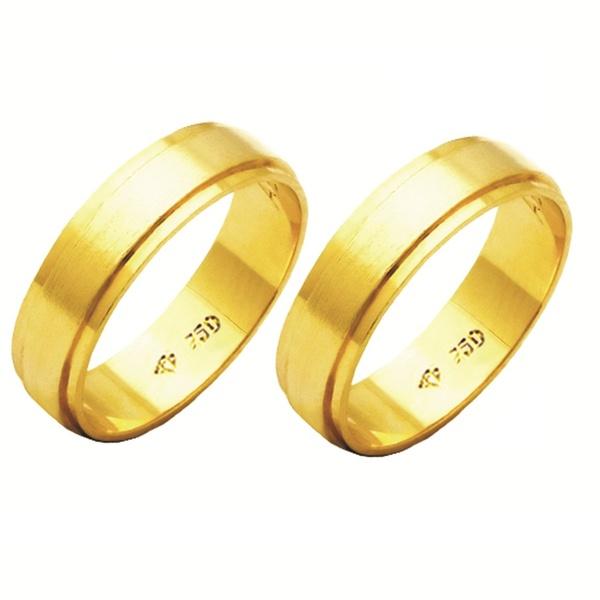 Alianças de casamento e noivado em ouro 18k 750 trabalhadas 5.5 mm