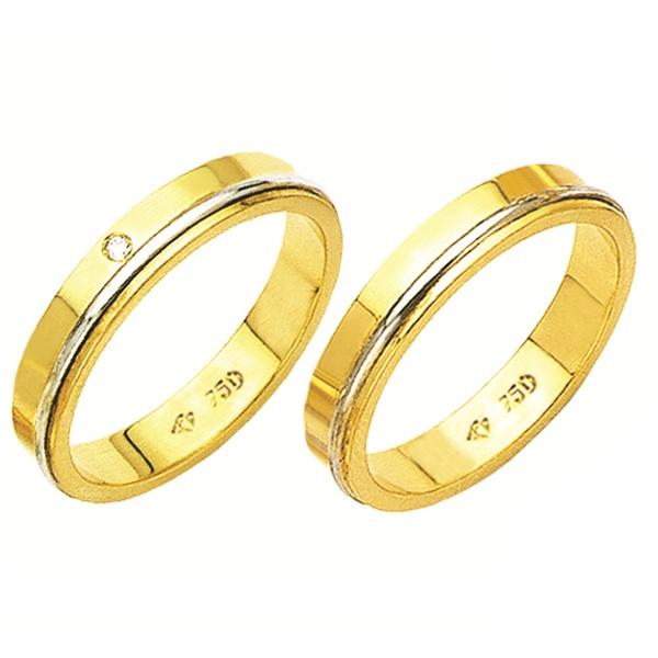 Alianças de casamento e noivado 02 tons em ouro 18k. 750, com pedra de diamante, trabalhada 4 mm