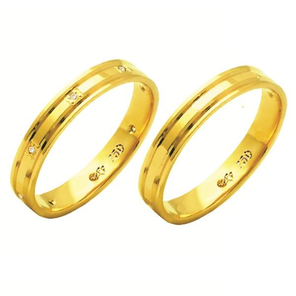 Alianças de casamento e noivado em ouro 18k 750 anatômicas com frisos e diamantes