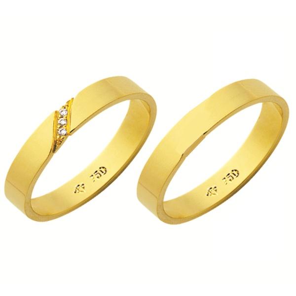 Alianças de casamento e noivado em ouro 18k 750 tradicional com diamantes 3,50 mm