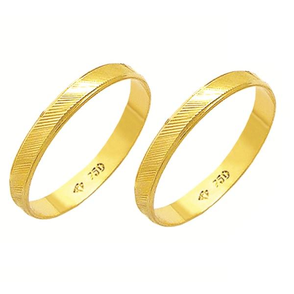 Alianças de casamento e noivado em ouro 18k 750 trabalhadas diamantadas 3.00 mm