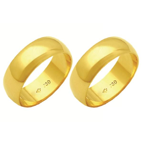 Alianças de casamento e noivado em ouro 18k. 750 tradicional 7 mm