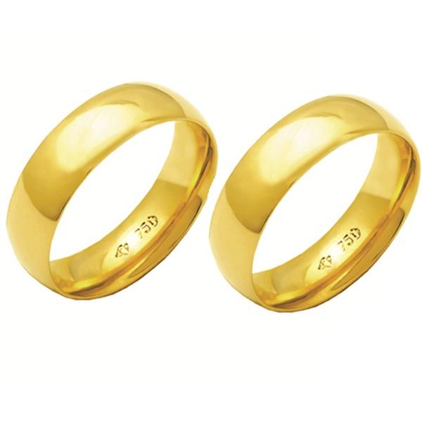 Alianças de casamento e noivado em ouro 18k 750 abaulada e anatômica 6 mm