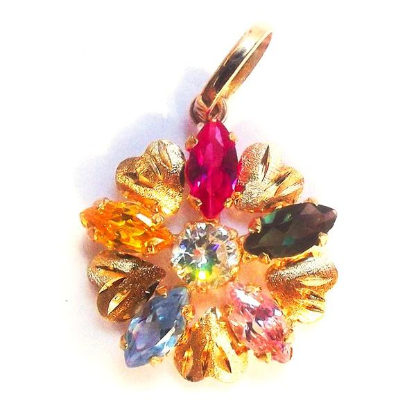 Pingente de Ouro Margarida com 6 pedras coloridas