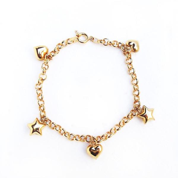 Pulseira de Ouro 18K 750 Portuguesa com Berloque coração e estrela