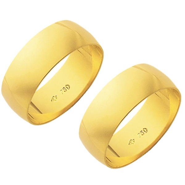 Alianças de casamento e noivado em ouro 18k.750 7mm