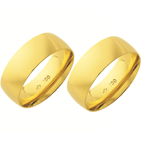 Alianças de casamento e noivado em ouro 18k 750 abaulada e anatômica 7,5 mm