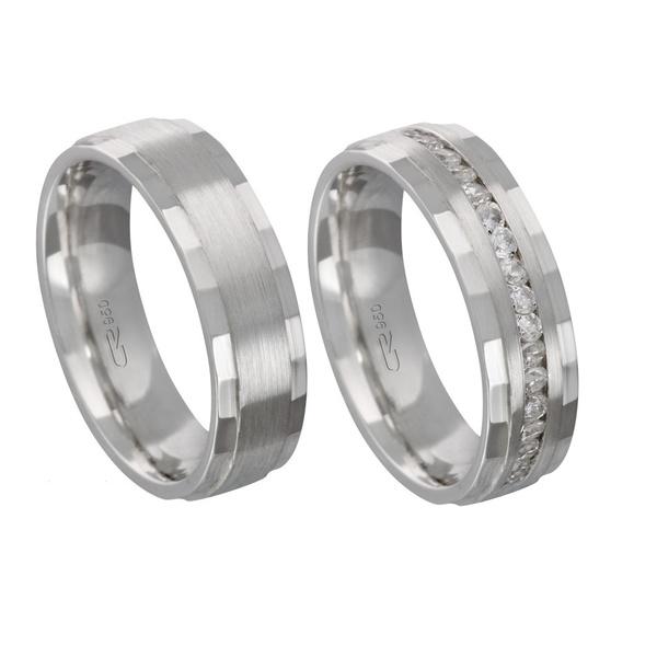 Alianças de compromisso em prata 950 trabalhada e anatômica com pedras 6 mm