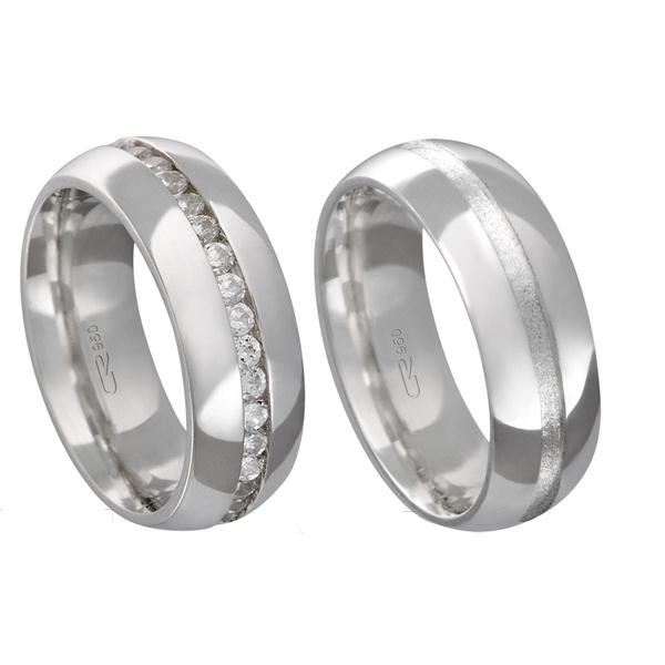 Alianças de compromisso em prata 950 modelo com pedras 7 mm