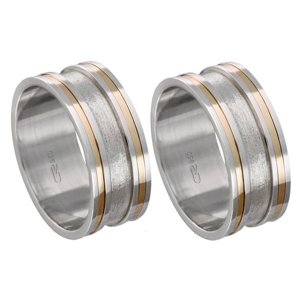 Alianças de compromisso em prata 950 trabalhada com fios de ouro 8 mm