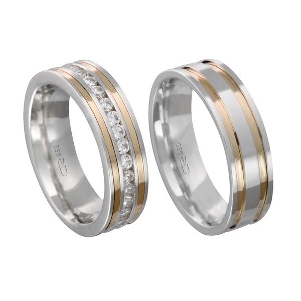 Alianças de compromisso em prata 950 trabalhada com fios de ouro 18k e pedra 6 mm