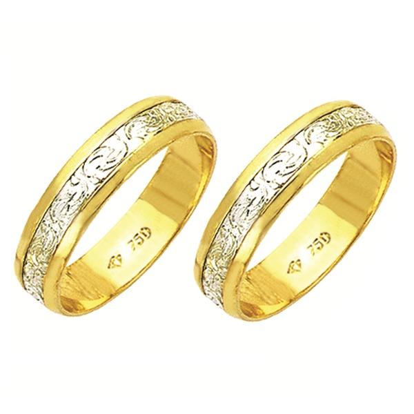 Alianças bodas de prata em ouro branco e amarelo 18k 750 5 mm