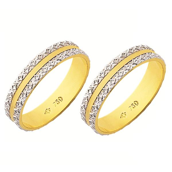 Alianças de casamento e noivado em ouro 18k. 750 trabalhada 2 tons com 4,5 mm