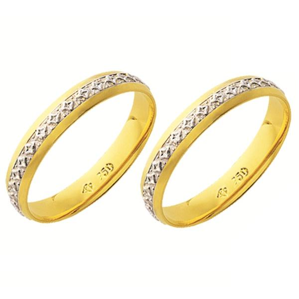 Alianças de casamento e noivado em ouro 18k 750 Trabalhadas 2 tons 3,5 mm
