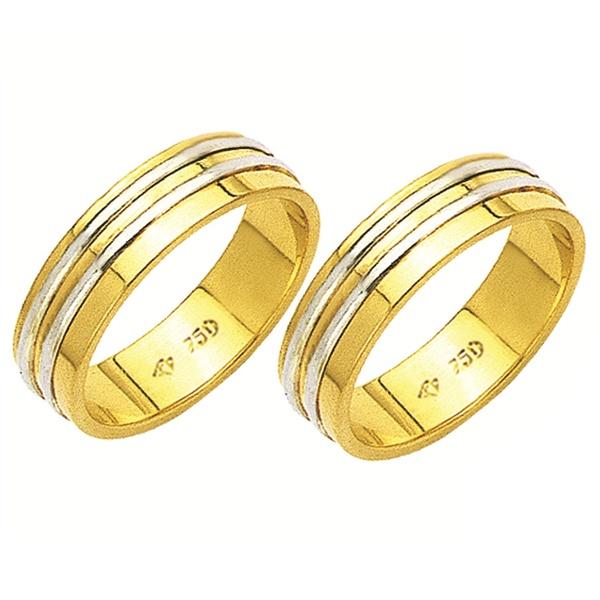 Alianças de casamento e noivado 2 tons em ouro 18k 750 Trabahada 5.5 mm