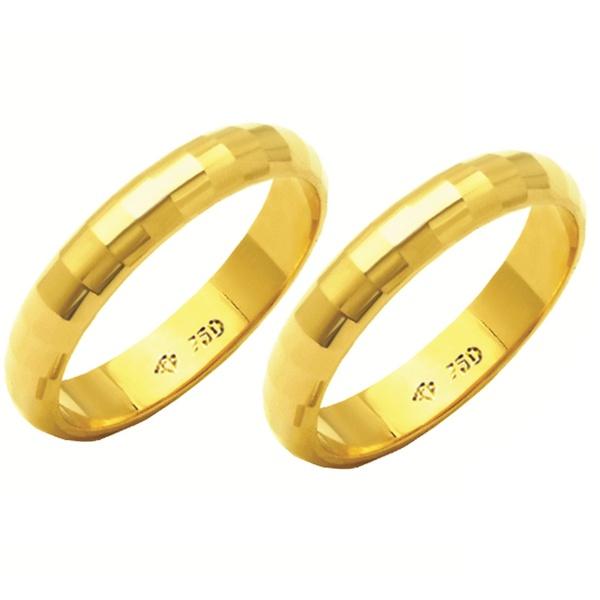 Alianças de casamento e noivado em ouro 18k. 750 tradicional diamantada 4 mm