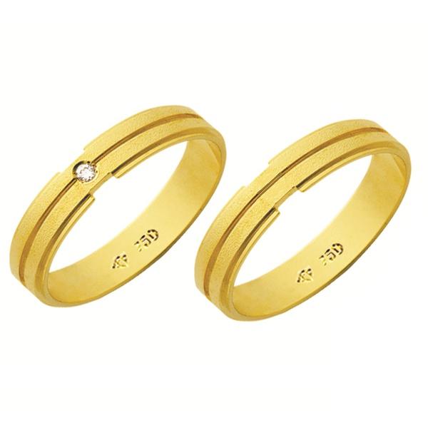 Alianças de casamento e noivado em ouro 18k 750 trabalhadas com diamante 4,00 mm