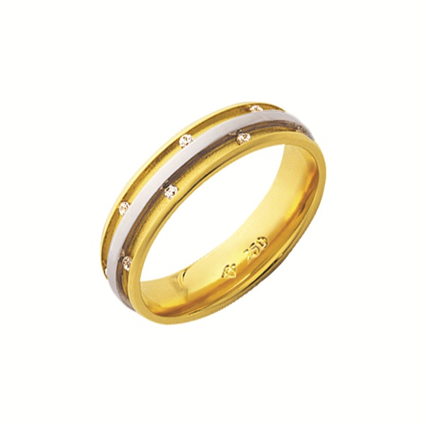 Alianças de casamento e noivado em ouro 18k 750 trabalhadas 2 tons anatômics com diamantes 5.10 mm