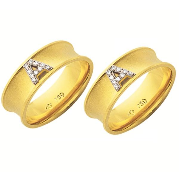 Alianças de casamento e noivado em ouro 18k 750 trabalhadas côncavas com inicial de ouro branco e pedras 7 mm
