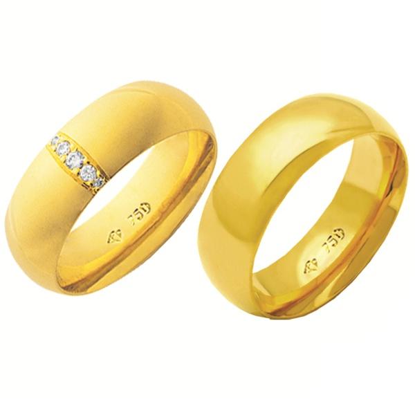 Alianças de casamento e noivado com diamantes em ouro 18k 750 tradicional e anatômica 7 mm