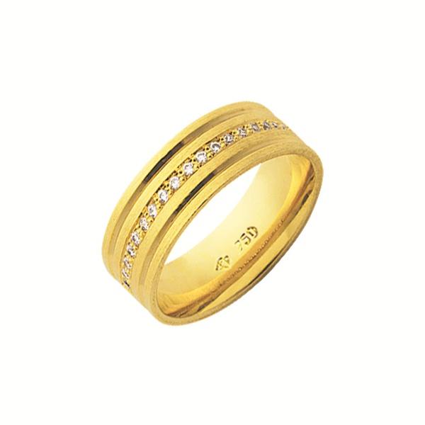 Alianças de casamento e noivado em ouro 18k 750 trabalhadas e anatômicas com diamantes 7.00 mm