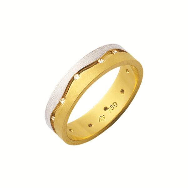 Alianças de casamento e noivado em ouro 18k 750 trabalhadas com pedras 2 tons 5,20mm